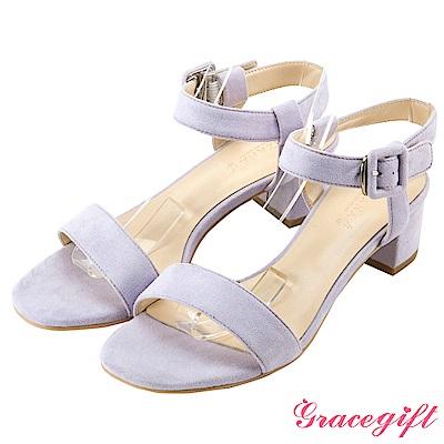 Grace gift-復古絨布小方釦一字涼鞋 淺紫