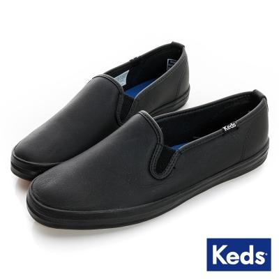 Keds 經典升級皮質休閒便鞋-黑色