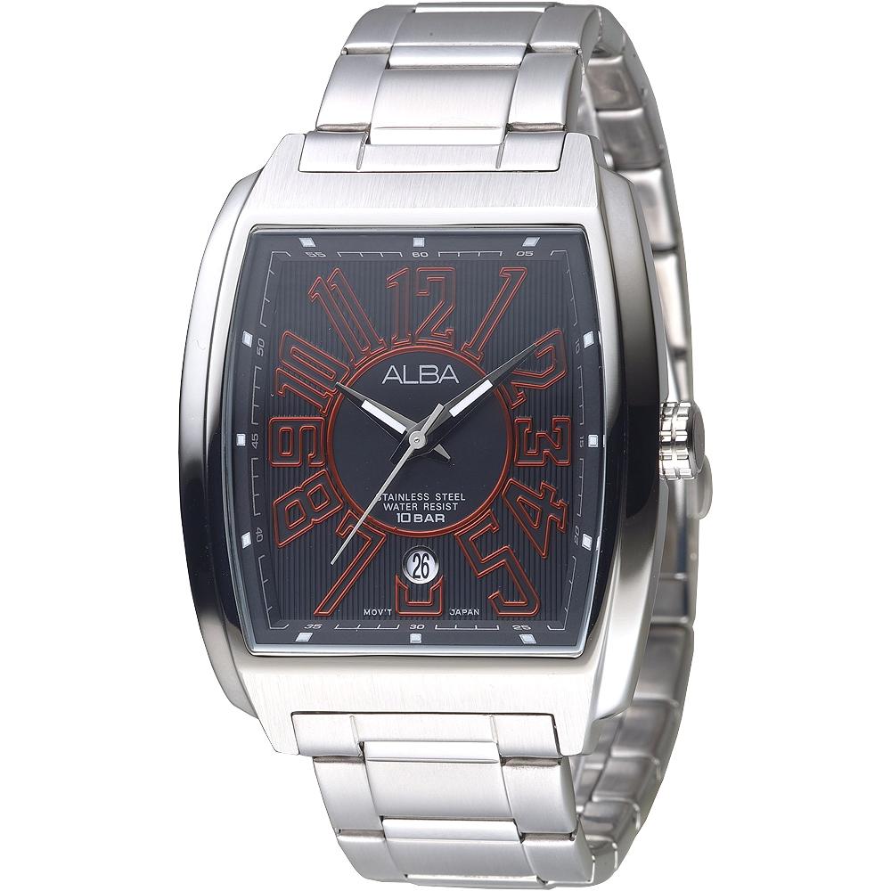 ALBA雅柏手錶 大錶徑酒桶造型街頭酷炫男錶-黑+紅刻(AS9C59X1)/44mm 保固二年