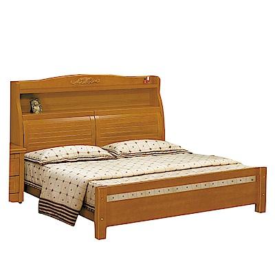 品家居-格莉西5尺樟木紋雙人床架組合-不含床墊-1
