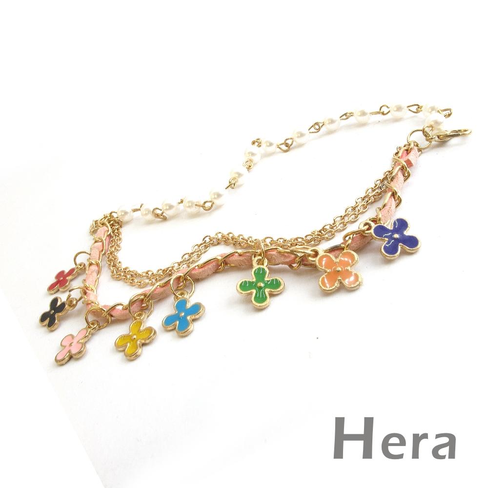 Hera赫拉 珍珠皮質墜幸運草多層手鍊(甜美粉)