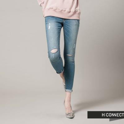 H-CONNECT-韓國品牌-女裝-刷白破壞感丹寧褲-藍