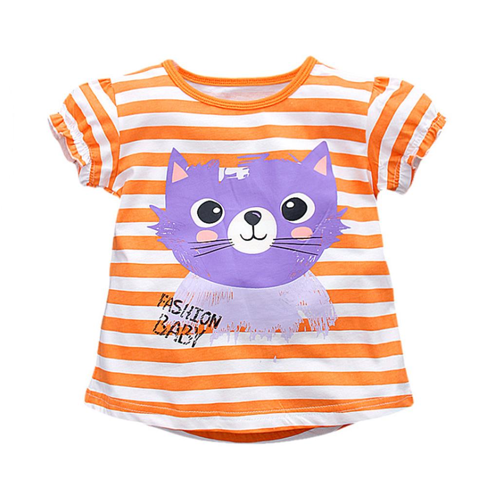 上衣 女童 條紋貓 歐美經典兒童純棉短袖T恤