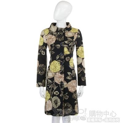 MOSCHINO 黑色花朵圖騰飾長版外套