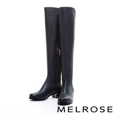 長靴 MELROSE 簡約率性 中牛皮彈性粗跟過膝長靴-藍
