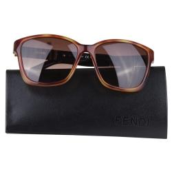FENDI 條紋黑邊架素雅太陽眼鏡(黑邊/咖啡)