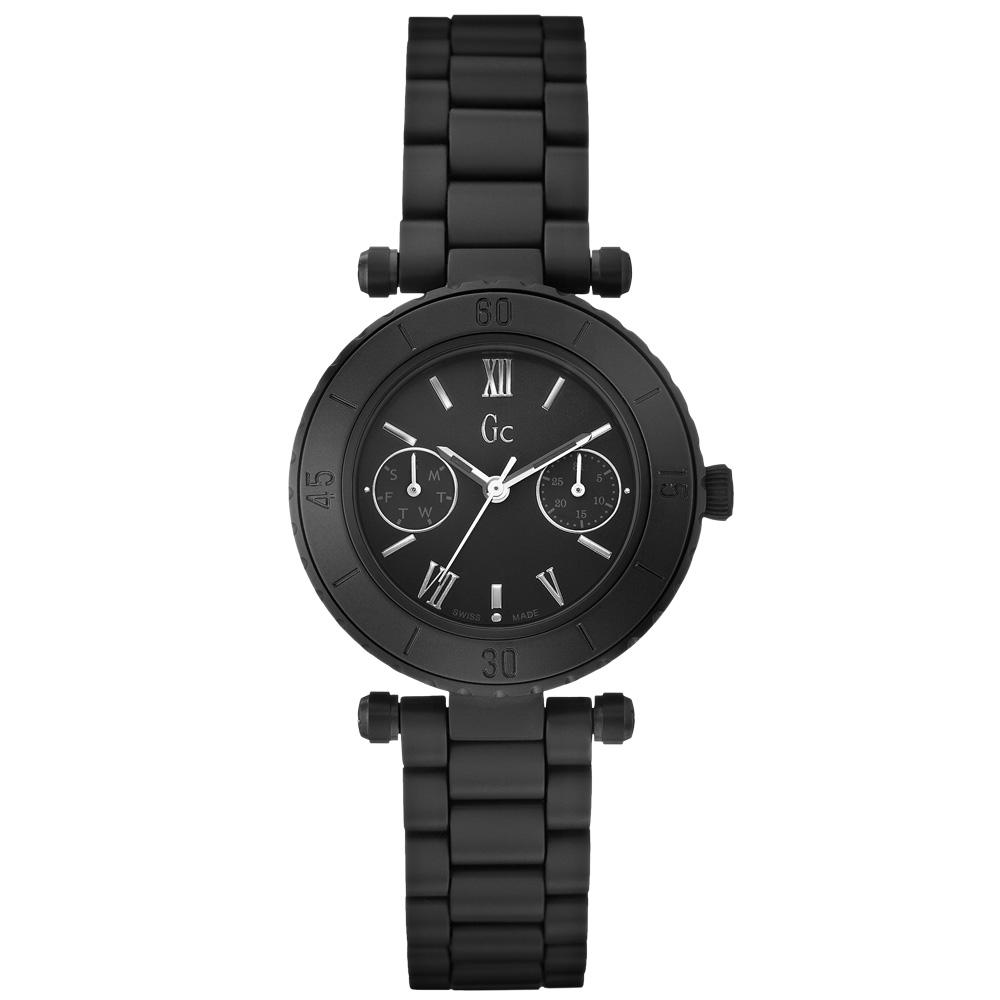 Gc 經典時尚雙眼陶瓷錶-小/全黑/34mm