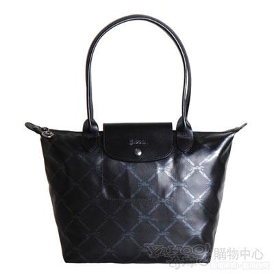 Longchamp 經典LM系列60週年復刻版格紋長把水餃包(小.黑)