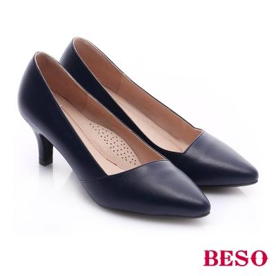 BESO-極簡風格-真皮斜口窩心中跟鞋-藍