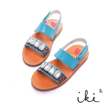 iki2童鞋-流星彩沙真皮寶石涼鞋-藍