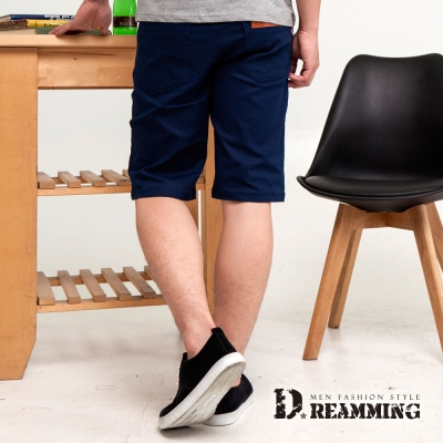 Dreamming 經典皮標釦飾百搭休閒伸縮短褲-共二色