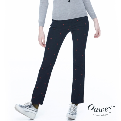 OUWEY歐薇-滿版愛心刺繡微喇牛仔褲-藍