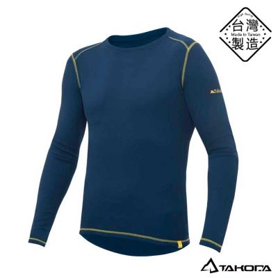 TAKODA男款刷毛內搭機能圓領T恤輕薄保暖衣(藍色)