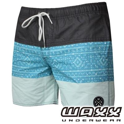 WAXX 經典系列-藍色拼接吸濕排汗男性海灘褲(15吋)