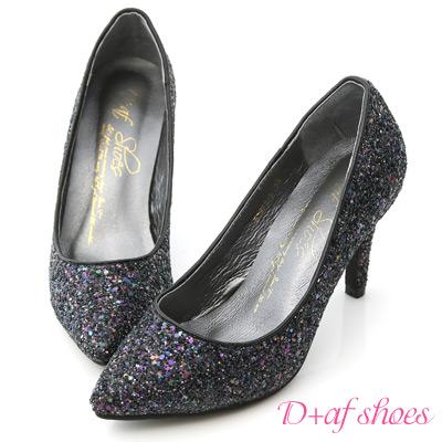 D+AF 絕美閃耀.滿滿亮片美型尖頭高跟鞋*黑