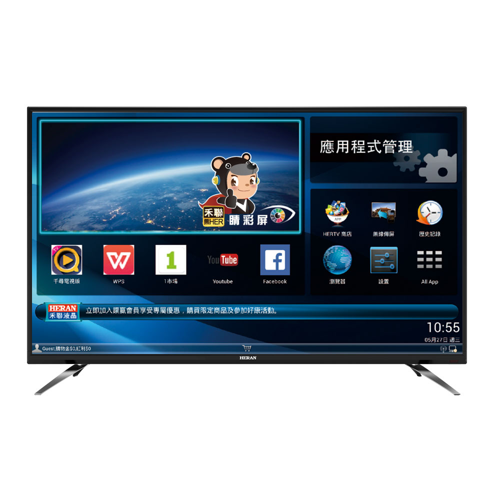 HERAN禾聯 43吋 4K 智慧聯網 LED液晶顯示器+視訊盒 HD-43UDF26