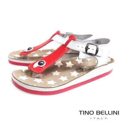 Tino Bellini 希臘進口幻想星芒T字夾腳平底涼鞋_紅
