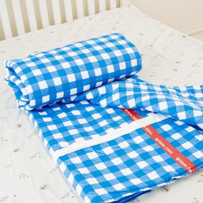 奶油獅-格紋系列-台灣製造-100%精梳純棉雙面薄被套-藍-單人