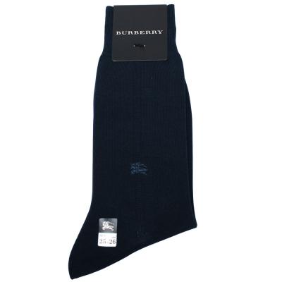 BURBERRY 簡約刺繡戰馬LOGO紳士襪-藍色