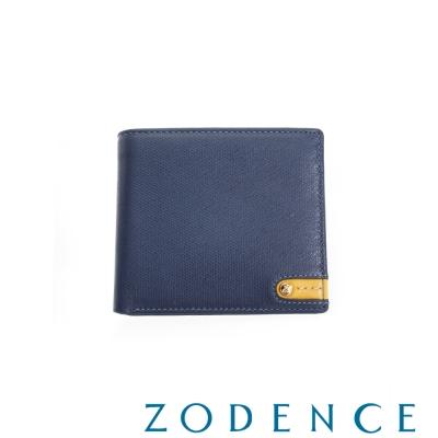 ZODENCE MAN 義大利牛皮系列低調配色LOGO拉鍊零錢袋短夾 藍