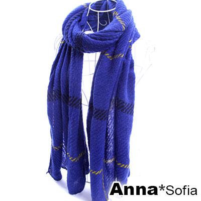 AnnaSofia-斜線大格-鬆軟針織長圍巾-青藍