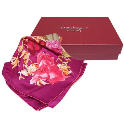 Salvatore Ferragamo 花卉印花方形絲巾-紫紅色(附原廠禮盒)