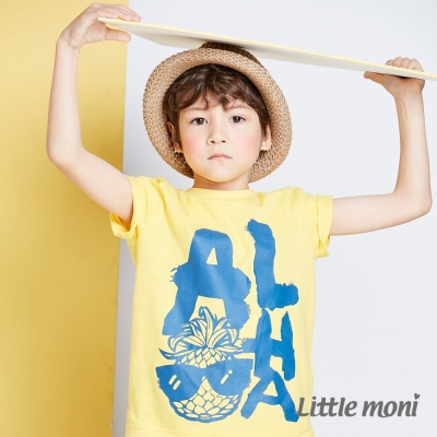 Little moni 夏日Aloha短袖上衣 黃色