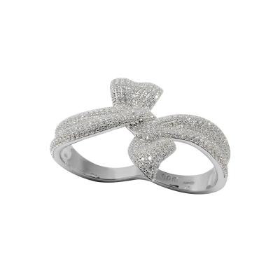 apm MONACO法國精品珠寶 閃耀銀色雙環扭結鑲鋯雙指戒指