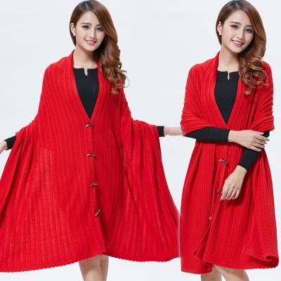Seoul-Show-100-Cashmere羊絨多用途針織圍巾披肩斗篷-大紅