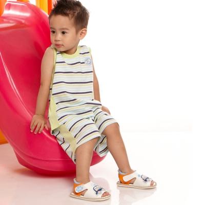 愛的世界 MYBABY 純棉圓領橫條紋背心套裝/2~4歲