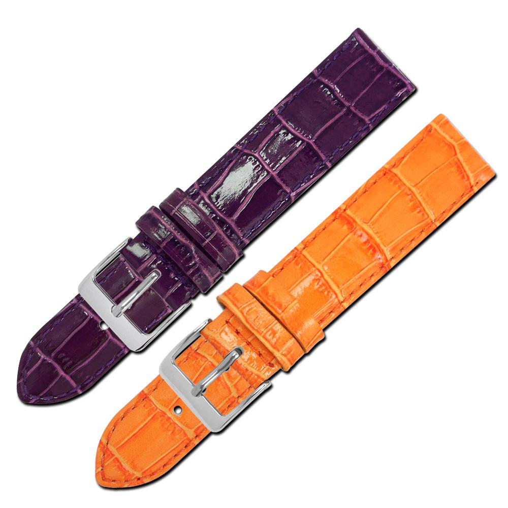 Watchband /義大利製亮面壓紋車線牛皮錶帶-二色任選