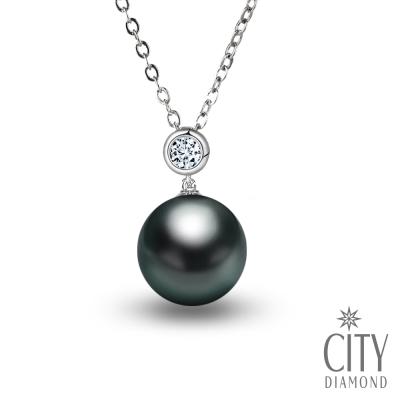 City Diamond引雅 大溪地黑珍珠鑽石包鑲項鍊