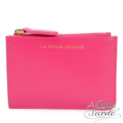 La Poche Secrete真皮 簡約真皮實用卡夾零錢包-甜美桃