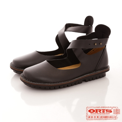 ORIS 女款 復古交叉休閒包頭娃娃鞋~黑 69201