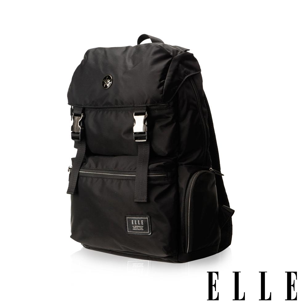 ELLE HOMME獨特巴黎鐵塔設計休閒風格可置物14吋扣層機能後背包