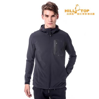 【hilltop山頂鳥】男款超撥水彈性Softshell外套H22MW1黑