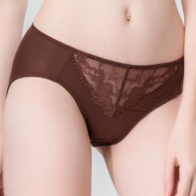 思薇爾 暮夏系列M-XXL蕾絲中腰三角內褲(粟褐色)