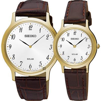 SEIKO精工 SOLAR 太陽能對錶(SUP860P1+SUP370P1)-金框x咖啡
