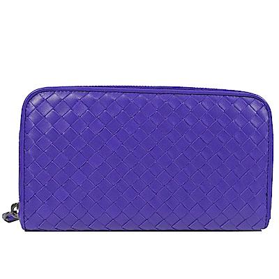 BOTTEGA VENETA經典編織ㄇ字拉鍊長夾(紫)