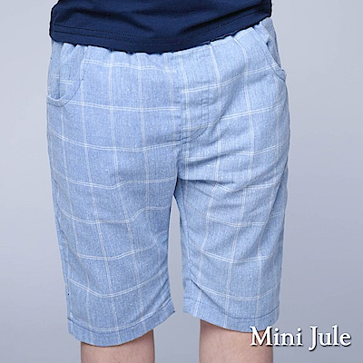 Mini Jule 童裝-短褲 格紋雙口袋鬆緊短褲(藍)