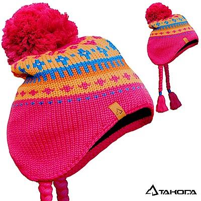 TAKODA 滑雪風格手工毛球麻花辮羊毛混紡粗針織毛線帽 (紅色)