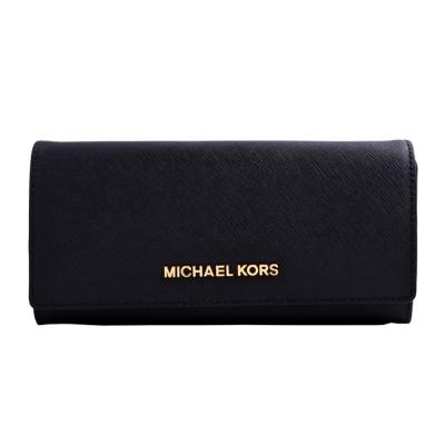 MICHAEL KORS JET SET TRAVEL金字Logo防刮皮革釦式長夾-黑