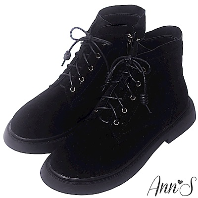 Ann'S搖滾Rocker-層次綁帶分量感厚底短靴-黑