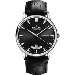 EDOX Les Bemonts 薄曼系列機械腕錶-黑/41mm