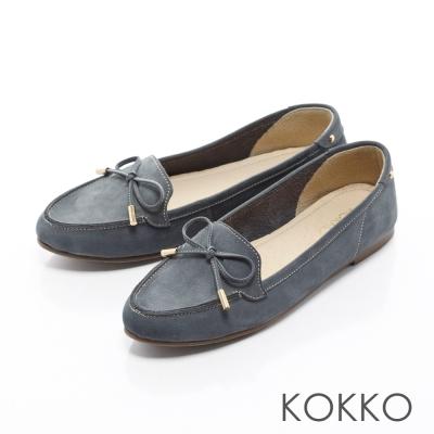 KOKKO - 經典人氣麂皮蝴蝶結手工莫卡辛 - 深牡丹藍