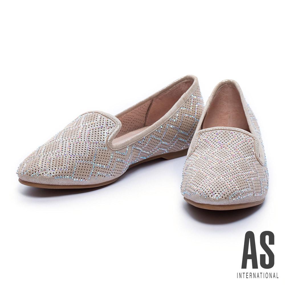 平底鞋 AS 菱格排鑽沖孔羊皮樂福平底鞋-金