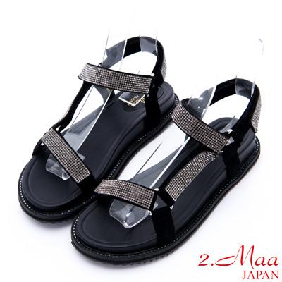 2.Maa - 閃耀迷人水鑽布料休閒涼鞋 - 黑