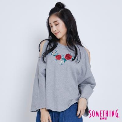 SOMETHING 玻瑰刺繡喇叭袖T恤-女-灰色