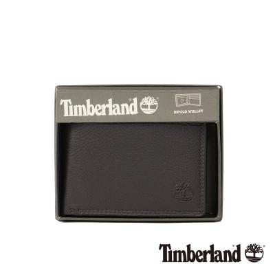 Timberland 男女款深咖啡色牛皮短夾錢包