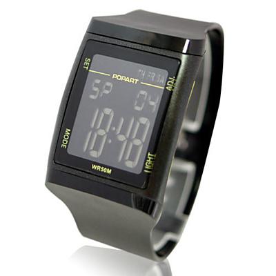 POPART 多功能冷光電子運動錶-黑 35mm